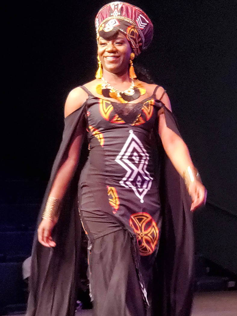 Miss Cameroon Queen Animia Moweta wears a traditional dress at the Miss Africa Nevada 2020 comp ...