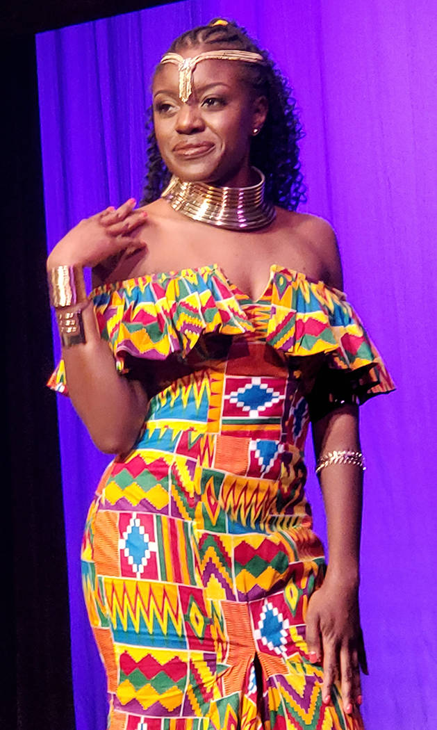 Miss Ghana Adwoa Fosu wears traditional clothing at the Miss Africa Nevada competition, held Ja ...