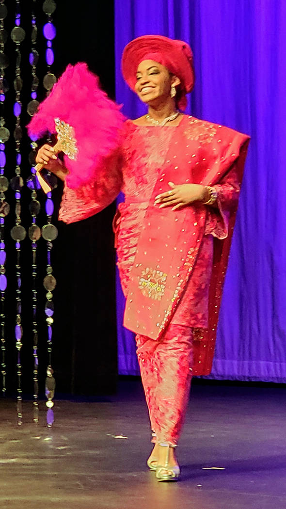 Miss Nigeria Kamryn James smiles during the traditional dress portion of the Miss Africa Nevada ...