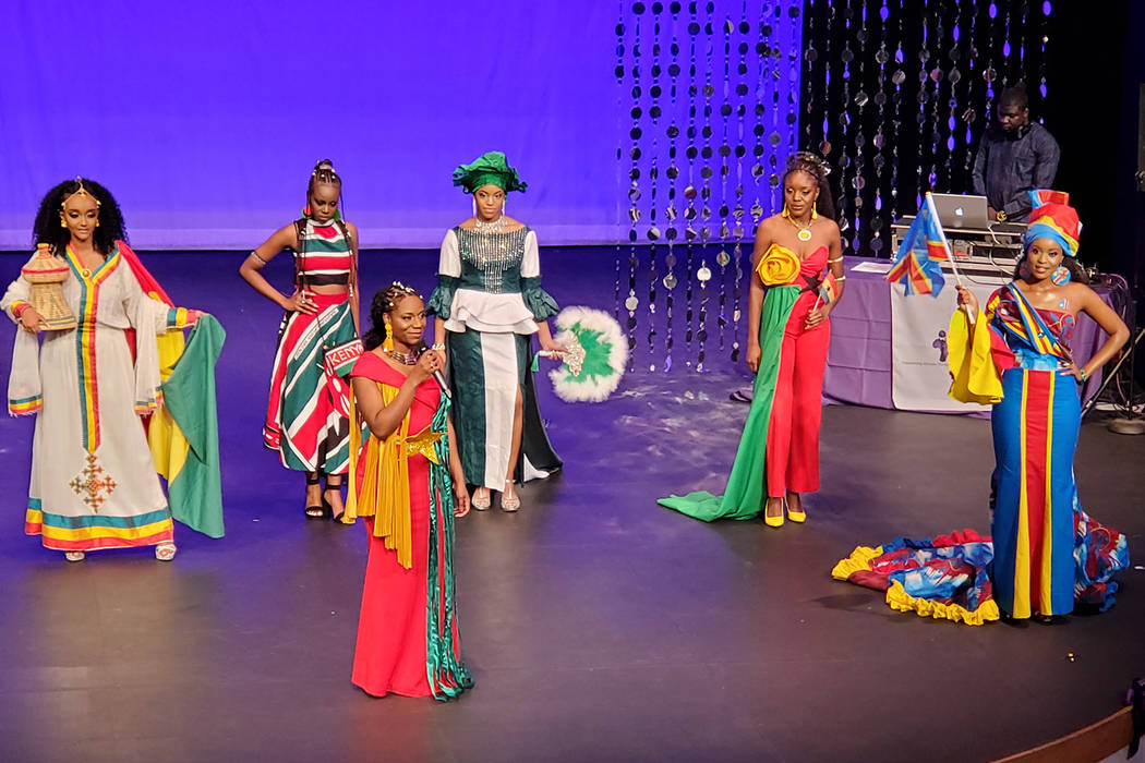 Miss Cameroon Queen Animia Moweta, who won an award for best talent, answers a question Jan. 25 ...