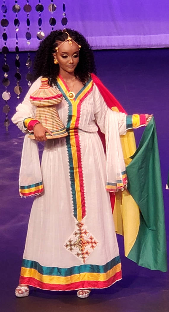 Miss Ethiopia Tsion Gizaw wears the dress that helped her win the best traditional outfit award ...