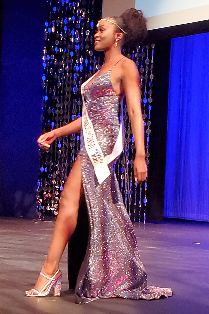 Miss D.R. Congo Sandra Ngwasi walks in the parade of nations portion of the Miss Africa Nevada ...