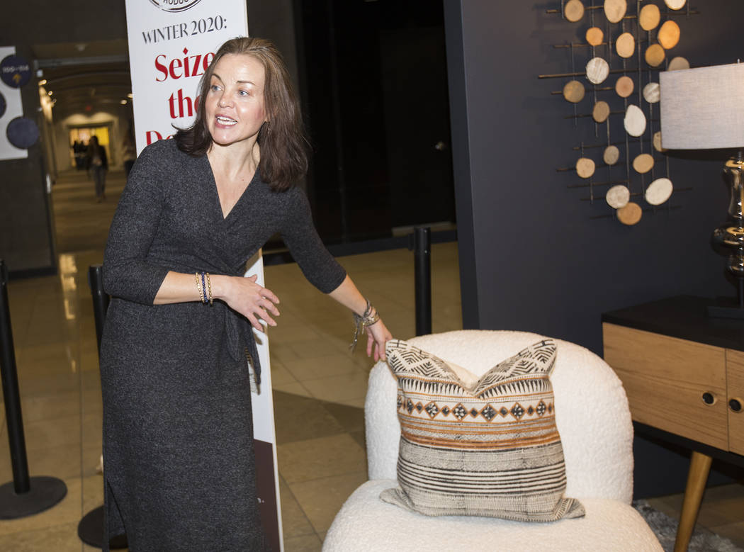 Julie Smith Vincenti speaks to the Review-Journal while pointing out a decorated set at the Las ...