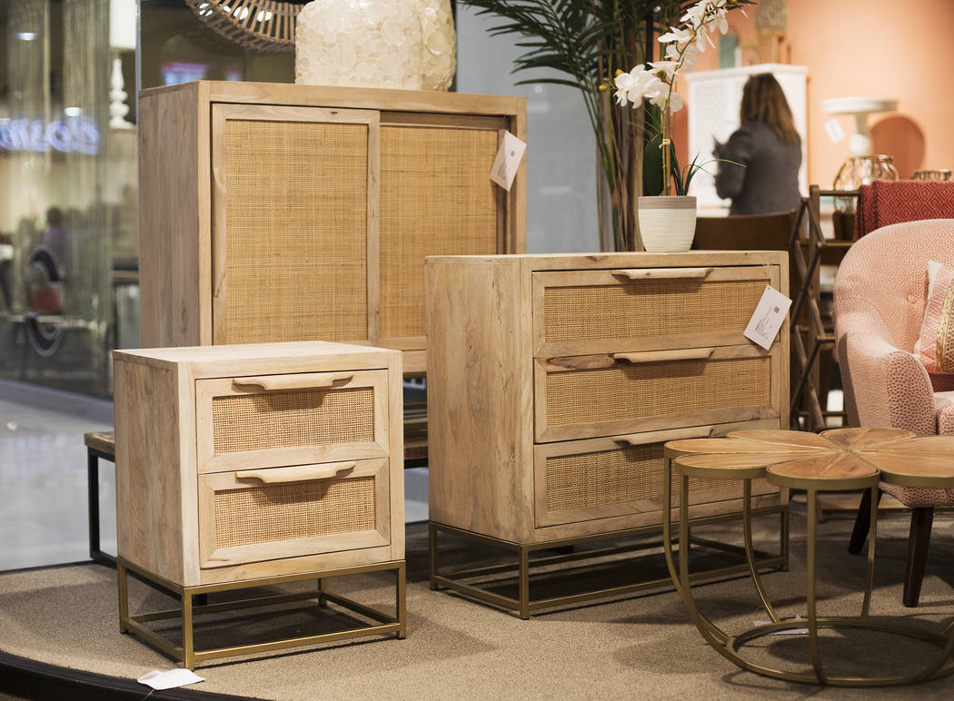 Ratan cabinets at the Powell Linon booth at the Las Vegas Market in Las Vegas, Monday, Jan. 27, ...