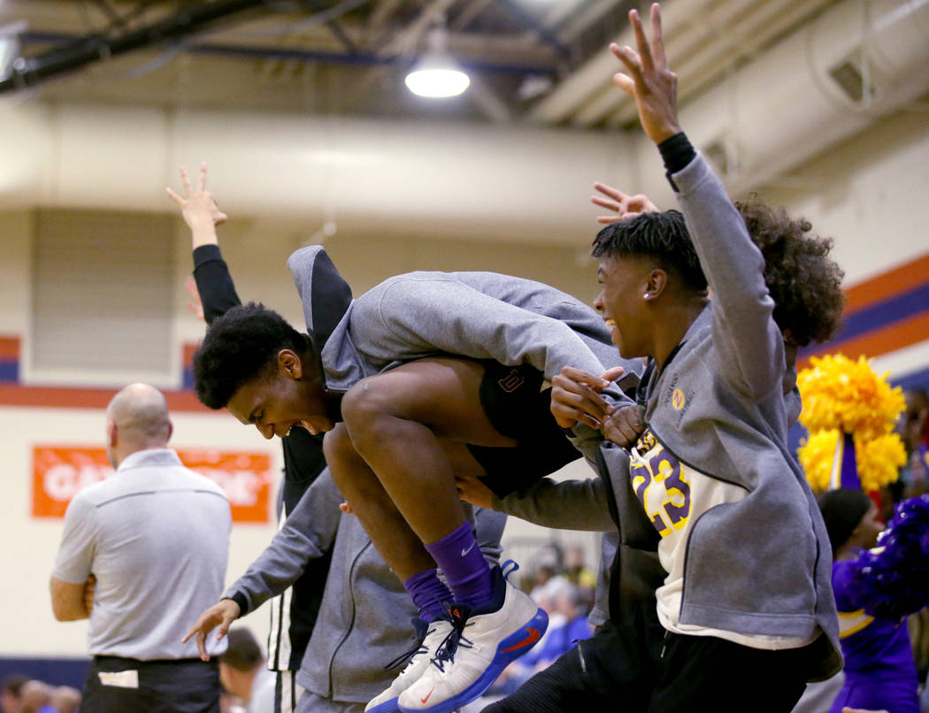 Durango players celebrate after taking the lead over Bishop Gorman in the second quarter of the ...