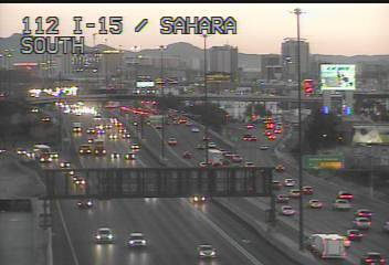 Traffic is slowed on southbound Interstate 15 near Sahara Avenue as the result of an injury cra ...