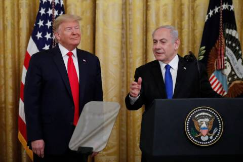 Israeli Prime Minister Benjamin Netanyahu speaks during an event with President Donald Trump in ...