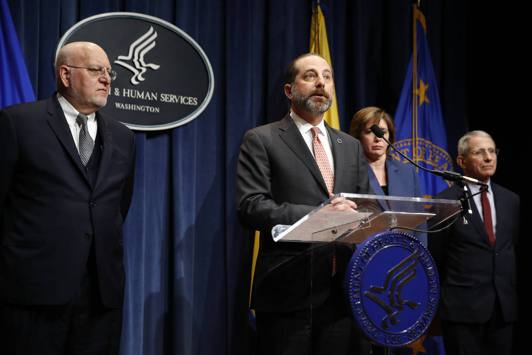 Health and Human Services Secretary Alex Azar speaks at a news conference about the federal gov ...