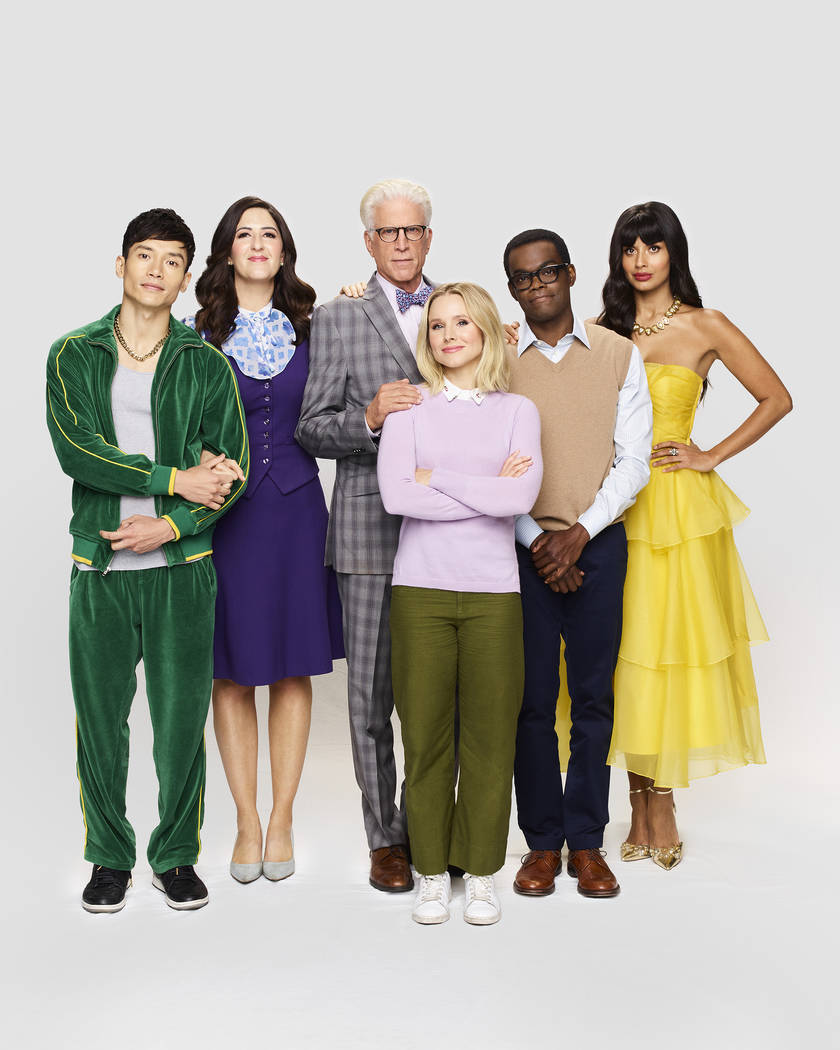 THE GOOD PLACE -- Season: 4 -- Pictured: (l-r) Manny Jacinto as Jason, Ted Danson as Michael, K ...