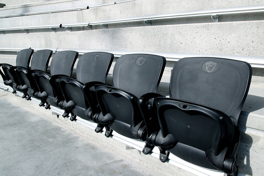 This image provided by the Las Vegas Raiders shows the first six seats installed at Allegiant S ...