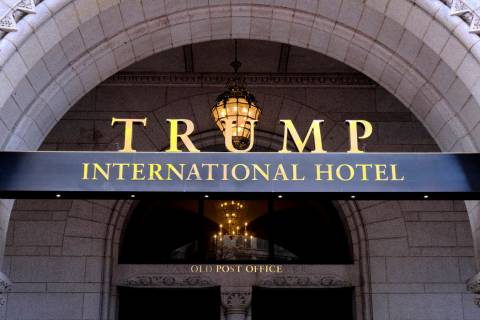 FILE- This March 11, 2019 file photo, shows the north entrance of the Trump International in Wa ...