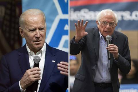 Joe Biden, left, and Bernie Sanders lead a poll of Democratic-leaning women of color in Nevada. ...