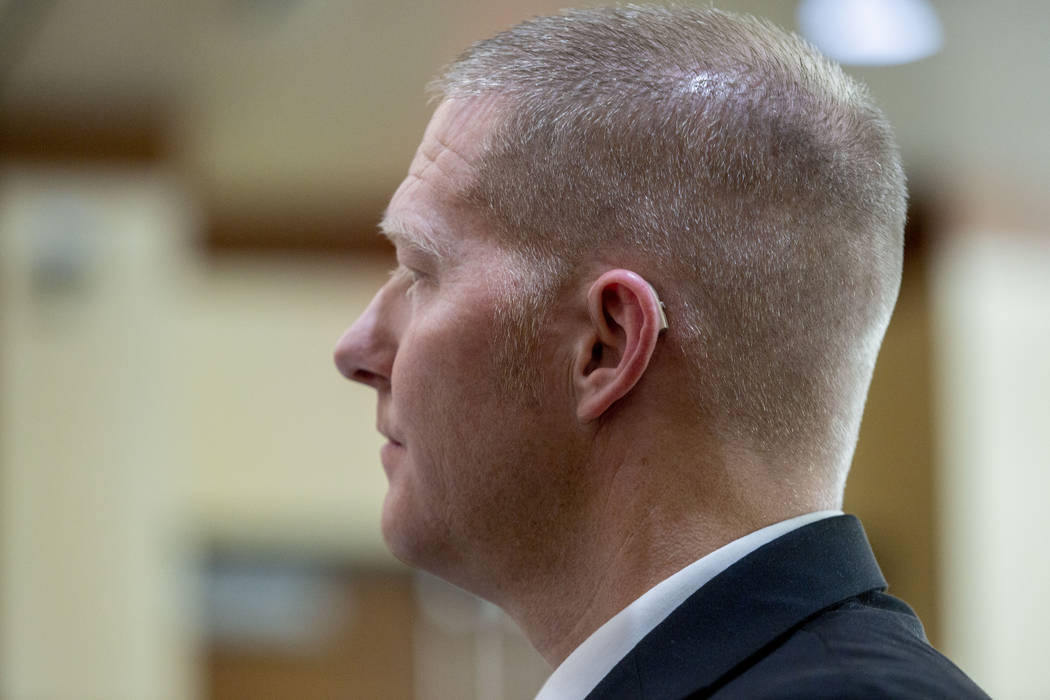 Former Henderson police officer Jared Spangler appears before the Nevada Court of Appeals at UN ...