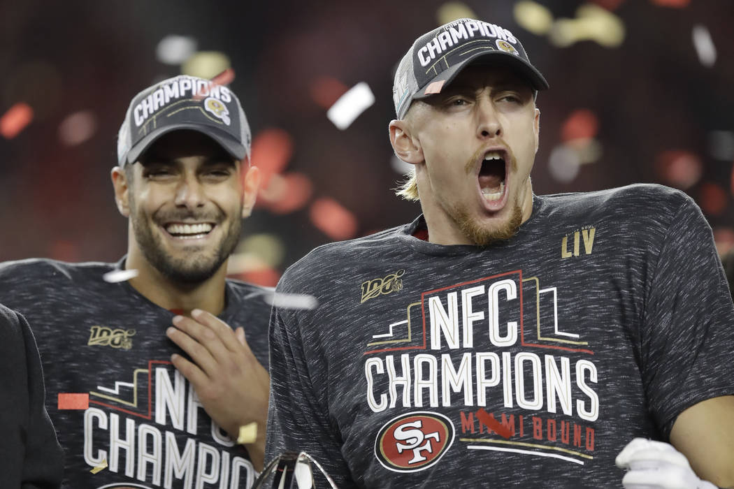 Image result for Jimmy Garoppolo George Kittle 600 x 400 AP Photo