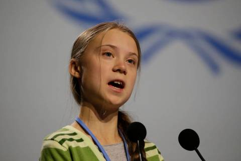Swedish climate activist Greta Thunberg addresses plenary of U.N. climate conference during wit ...