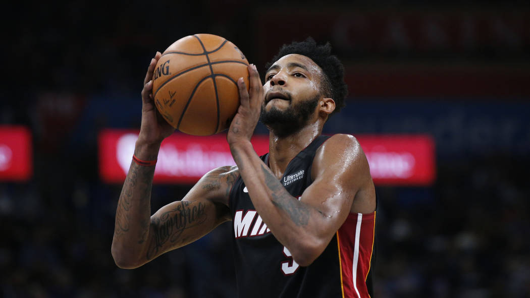 Miami Heat forward Derrick Jones Jr. (5) during an NBA basketball game against the Oklahoma Cit ...