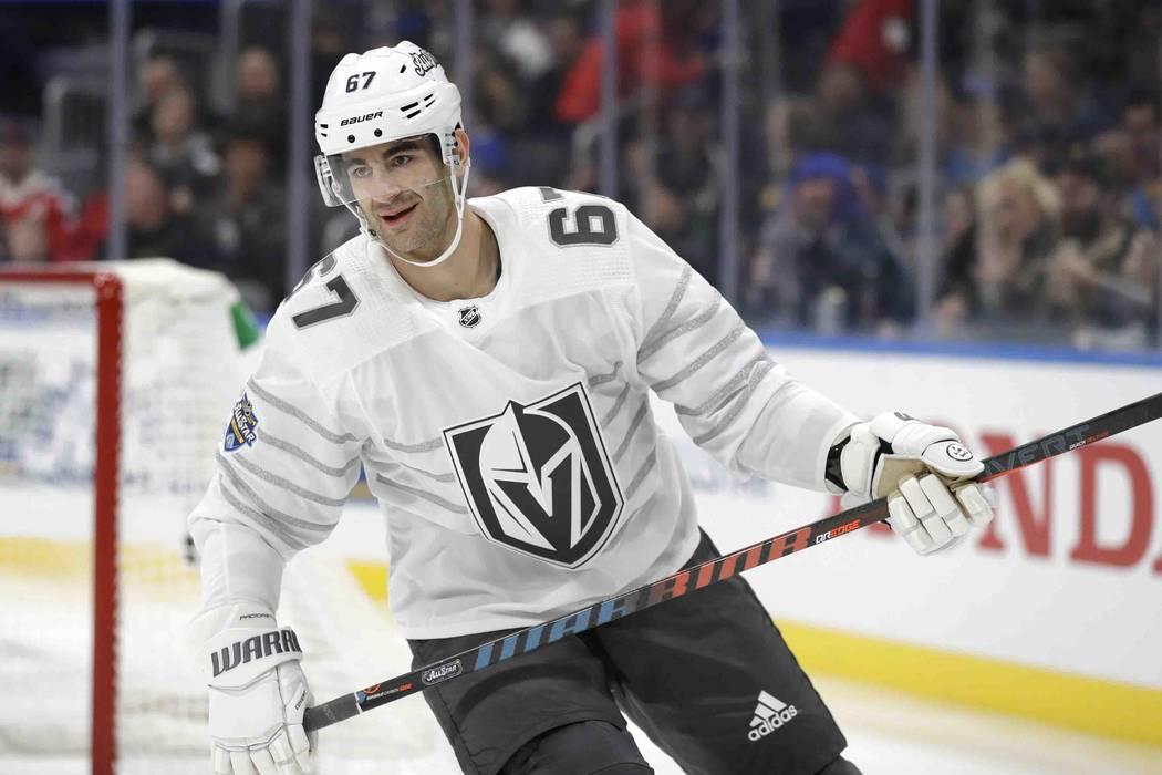 Vegas Golden Knights forward Max Pacioretty plays in an NHL hockey All Star semifinal game Satu ...