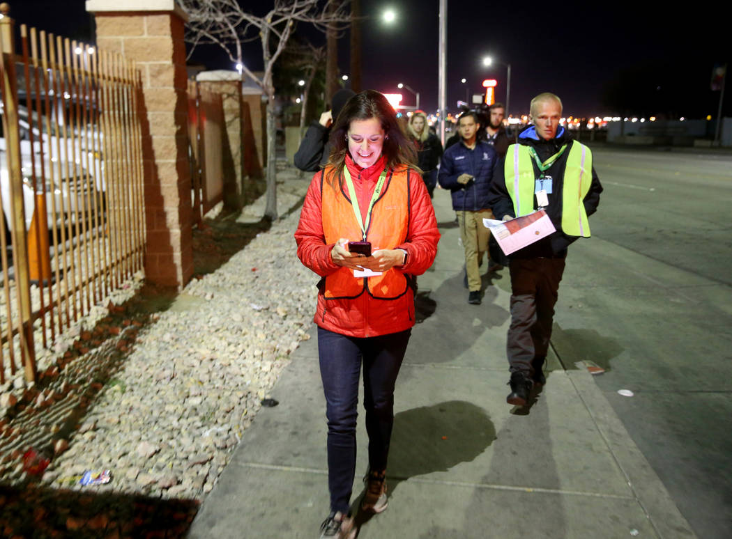 SafeNest CEO Liz Ortenburger uses an app to survey and count the homeless population on Las Veg ...