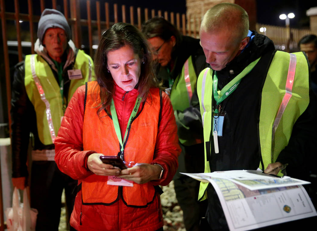 SafeNest CEO Liz Ortenburger uses an app to survey and count the homeless population with volun ...