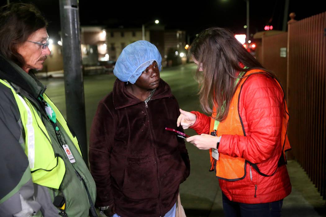SafeNest CEO Liz Ortenburger and homeless count volunteer Mark Chadwick interview Fennie Voner ...