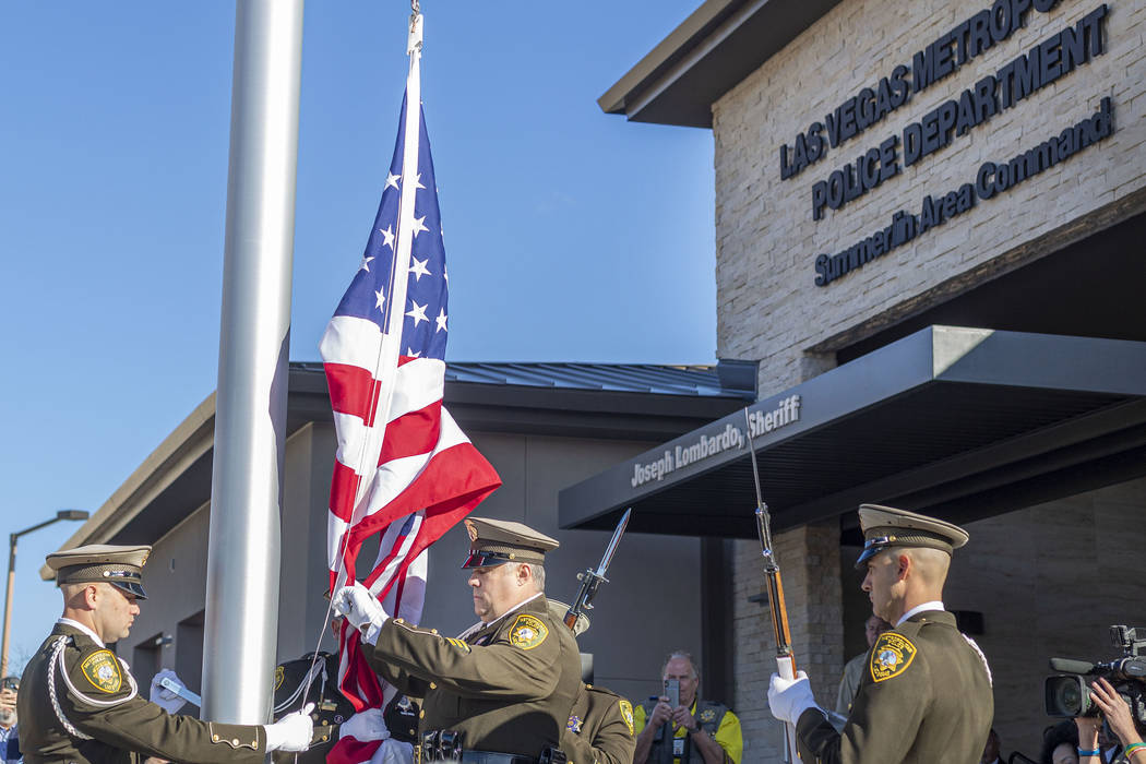 An American flag is raised during the official opening ceremony and ribbon cutting for the new ...
