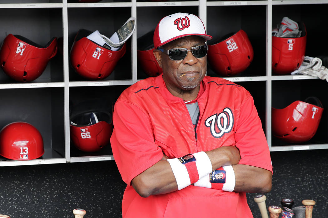 FILE - In this July 8, 2017, file photo, Washington Nationals manager Dusty Baker watches batti ...