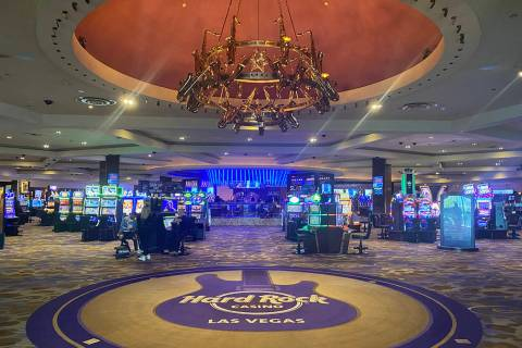 The entrance of Hard Rock Hotel is shown on Wednesday, Jan. 29, 2020. (John Katsilometes/Las Ve ...