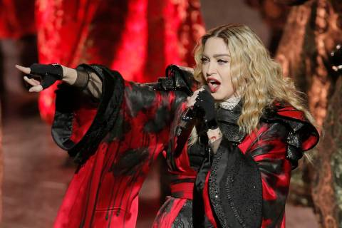 U.S. singer Madonna performs during the Rebel Heart World Tour in Macau, China, Saturday, Feb. ...