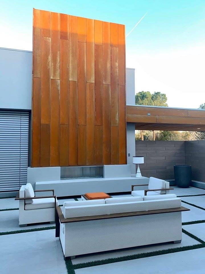 The outdoor patio has a modern design. (Kimberly Joi McDonald)