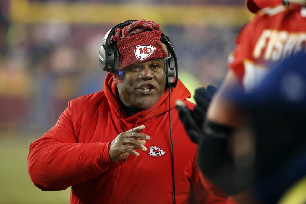 FILE - In this Jan. 20, 2019, file photo, Kansas City Chiefs offensive coordinator Eric Bieniem ...