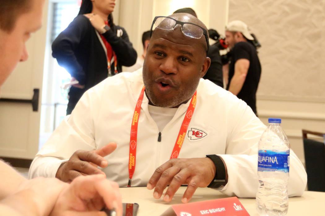 Kansas City Chiefs offensive coordinator Eric Bieniemy answers questions during Super Bowl LIV ...