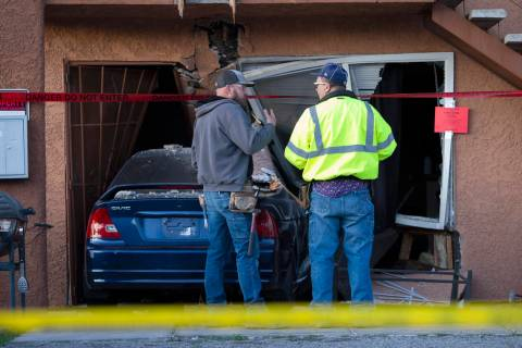 A vehicle crashed into an apartment building following a domestic dispute on the 5300 block of ...