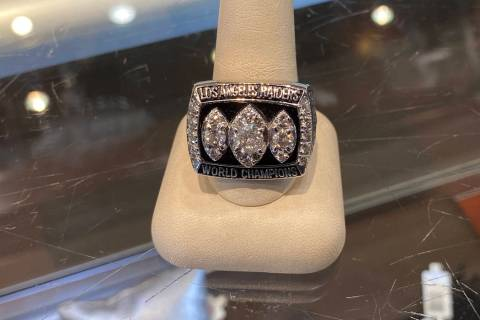 A Super Bowl ring for the Los Angeles Raiders seen at the Gold & Silver Pawn Shop. (Myles Simmo ...