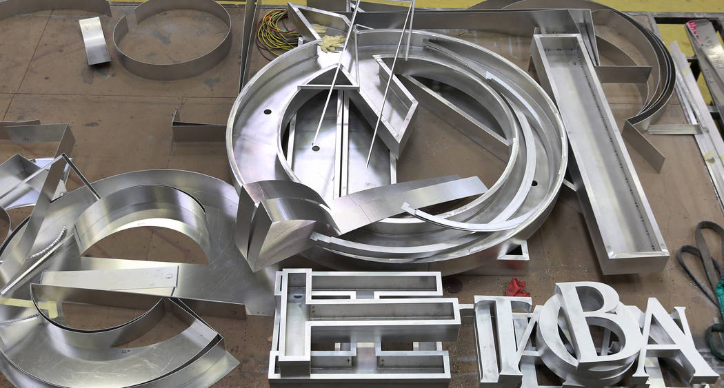 Giant letters for the new Allegiant Stadium signage that's being built by Yesco, a customized b ...