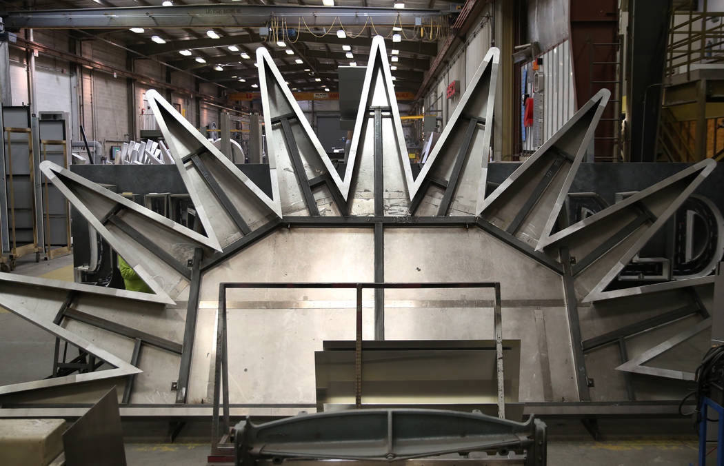 The Allegiant sunburst logo that's being built by Yesco, a customized business signs maker, for ...