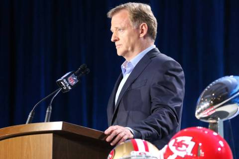 NFL Commissioner Roger Goodell speaks to media during his Super Bowl LIV news conference at the ...