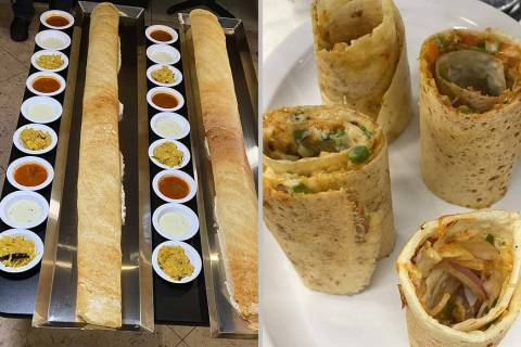 Divine Dosa & Biryani serves more than 30 types of dosas, including a 4-foot version, right and ...