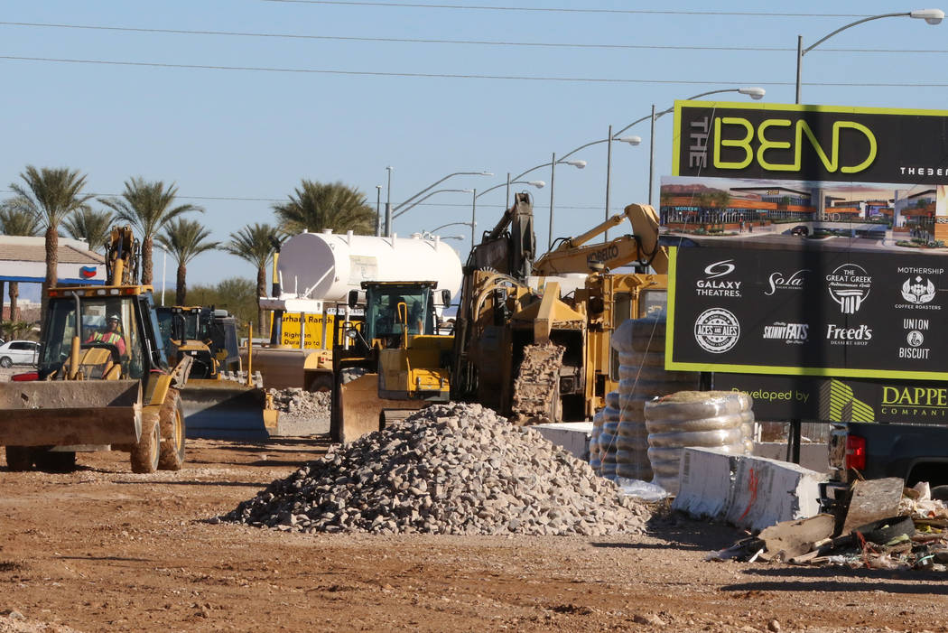 Heavy construction equipments used on construction sites are seen at The Bend, a retail project ...