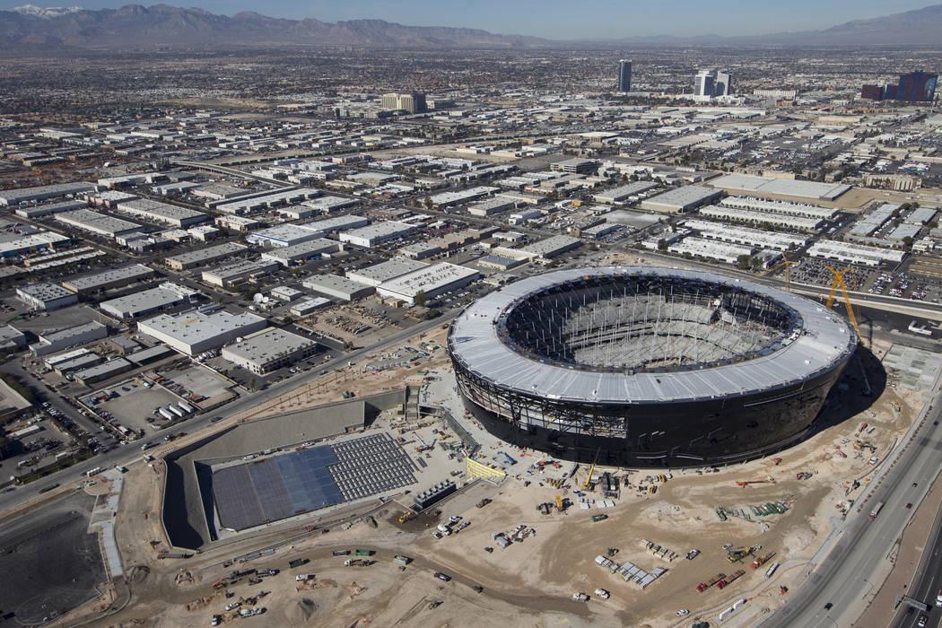 Aerial photo of Allegiant Stadium, future home of the Las Vega Raiders, pictured on Thursday, J ...