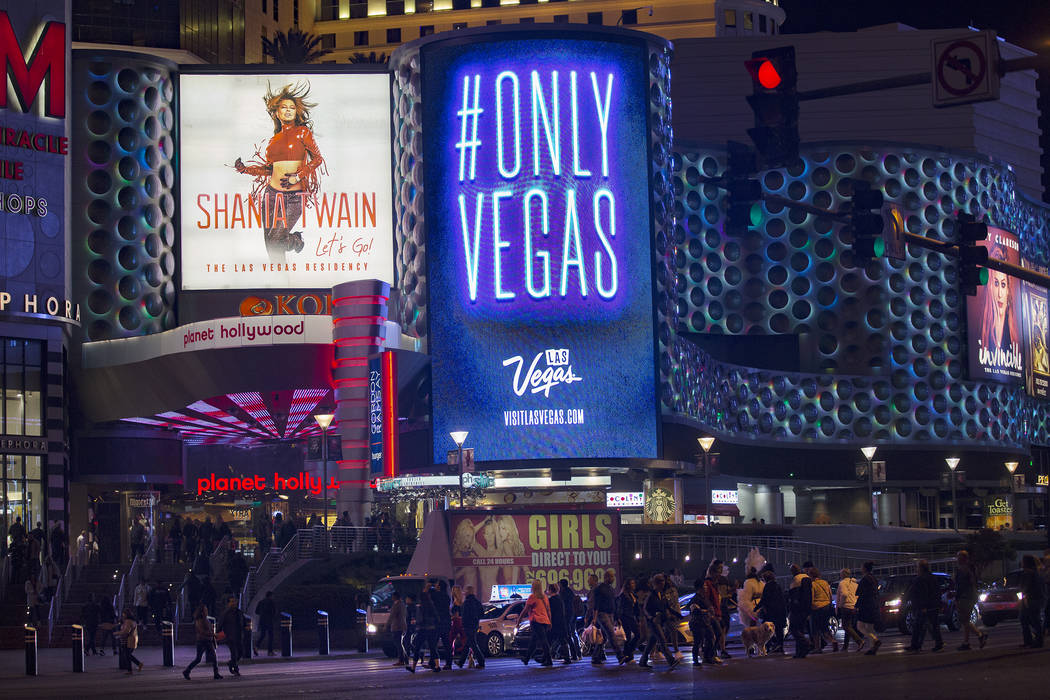 The new slogan for the city, Only Vegas, displayed on the marquee outside Planet Hollywood Reso ...
