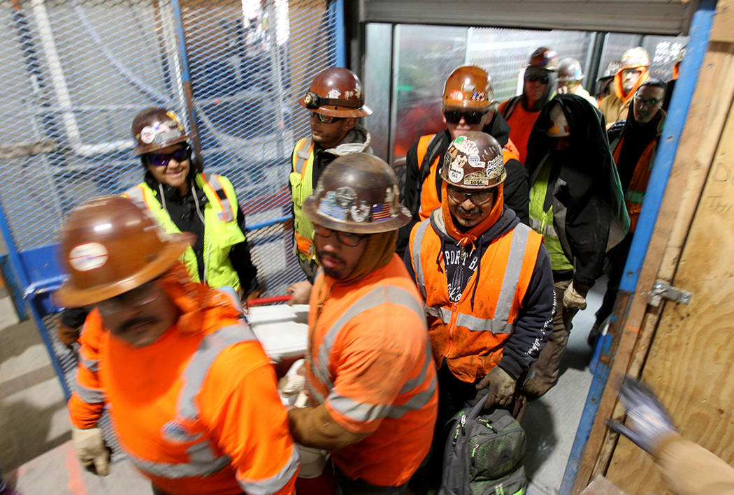 Workers finish their shifts at the Circa construction site in downtown Las Vegas Boulevard Thur ...