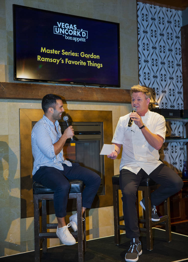 Bon Appetit editor Andy Baraghani reacts to another response from Gordon Ramsay during a Vegas ...