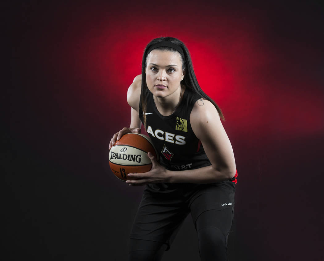 Aces guard Kayla McBride during media day on Monday, May 13, 2019, at Mandalay Bay Events Cente ...