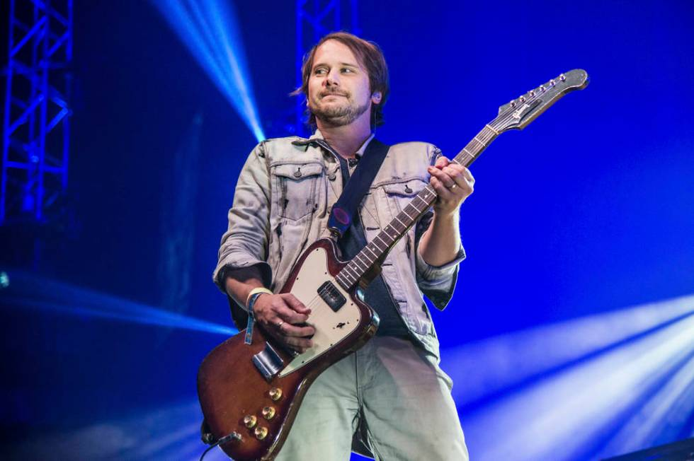 Brian Aubert of Silversun Pickups performs during KROQ's Almost Acoustic Christmas on Dec. 12, ...