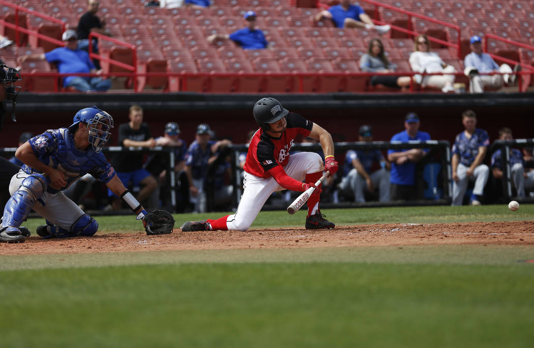 Grant Robbins, shown batting in 2018, had a three-run triple and an RBI single for UNLV in its ...