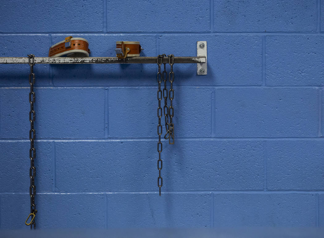 Handcuffs and chains remain in the North Las Vegas jail, which was closed in 2012, in North Las ...