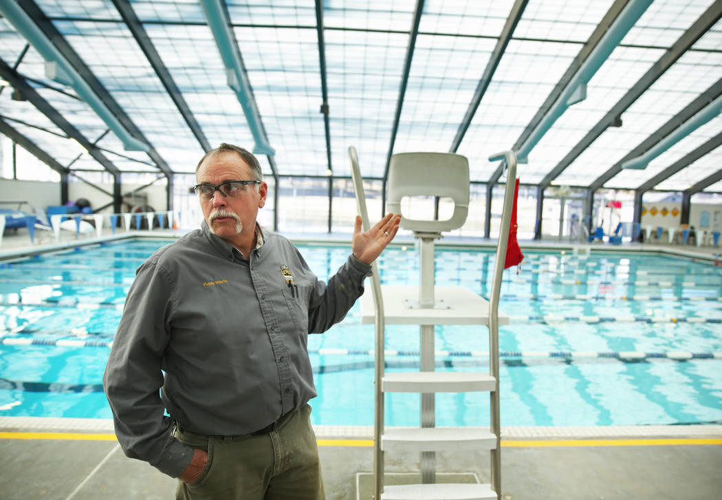 Maintenance tech Brad McClelland discusses upkeep costs at Northwest Pool on Monday, Jan. 6, 20 ...