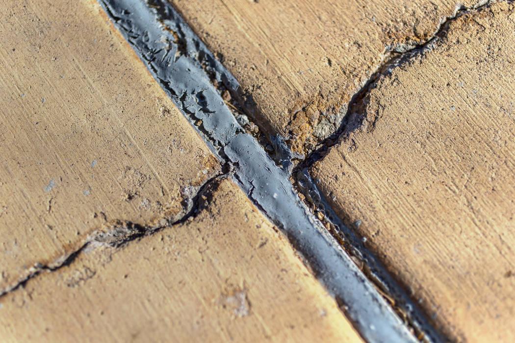 Large cracks on the pool deck at Boulder City Pool Thursday, Jan. 16, 2020, in Boulder City. (B ...