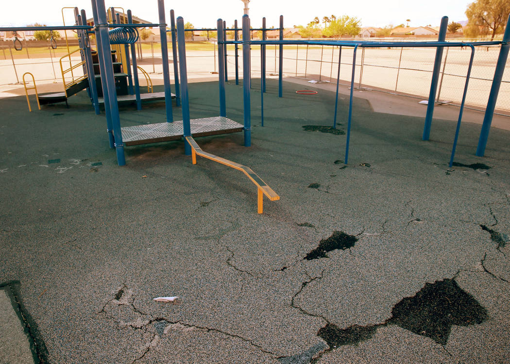 One of two closed playgrounds at Watson Elementary School in North Las Vegas Friday, April 5, 2 ...