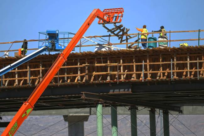 Construction continues on the Centennial Bowl interchange on Tuesday, Feb. 25, 2020, in Las Veg ...